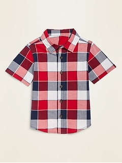 Plaid Poplin Short-Sleeve Shirt for Toddler Boys