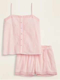 Swiss-Dot Lace-Trim Cami & Boxer Shorts Pajama Set for Women