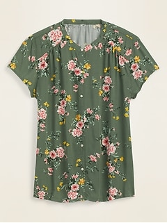Printed Banded-Collar Shirt for Women