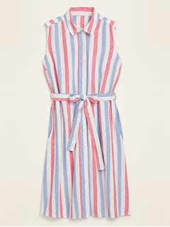 Striped Linen-Blend Tie-Belt Shirt Dress for Women