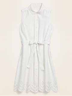 Linen-Blend Sleeveless Tie-Belt Midi Shirt Dress for Women