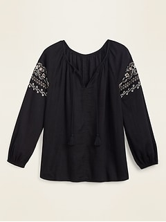 Embroidered Tie-Neck Boho Blouse for Women