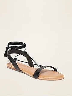 Strappy Faux-Leather Lace-Up Sandals for Women