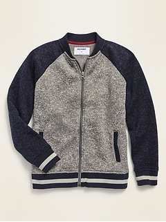 Color-Blocked Sweater-Fleece Bomber Jacket for Boys