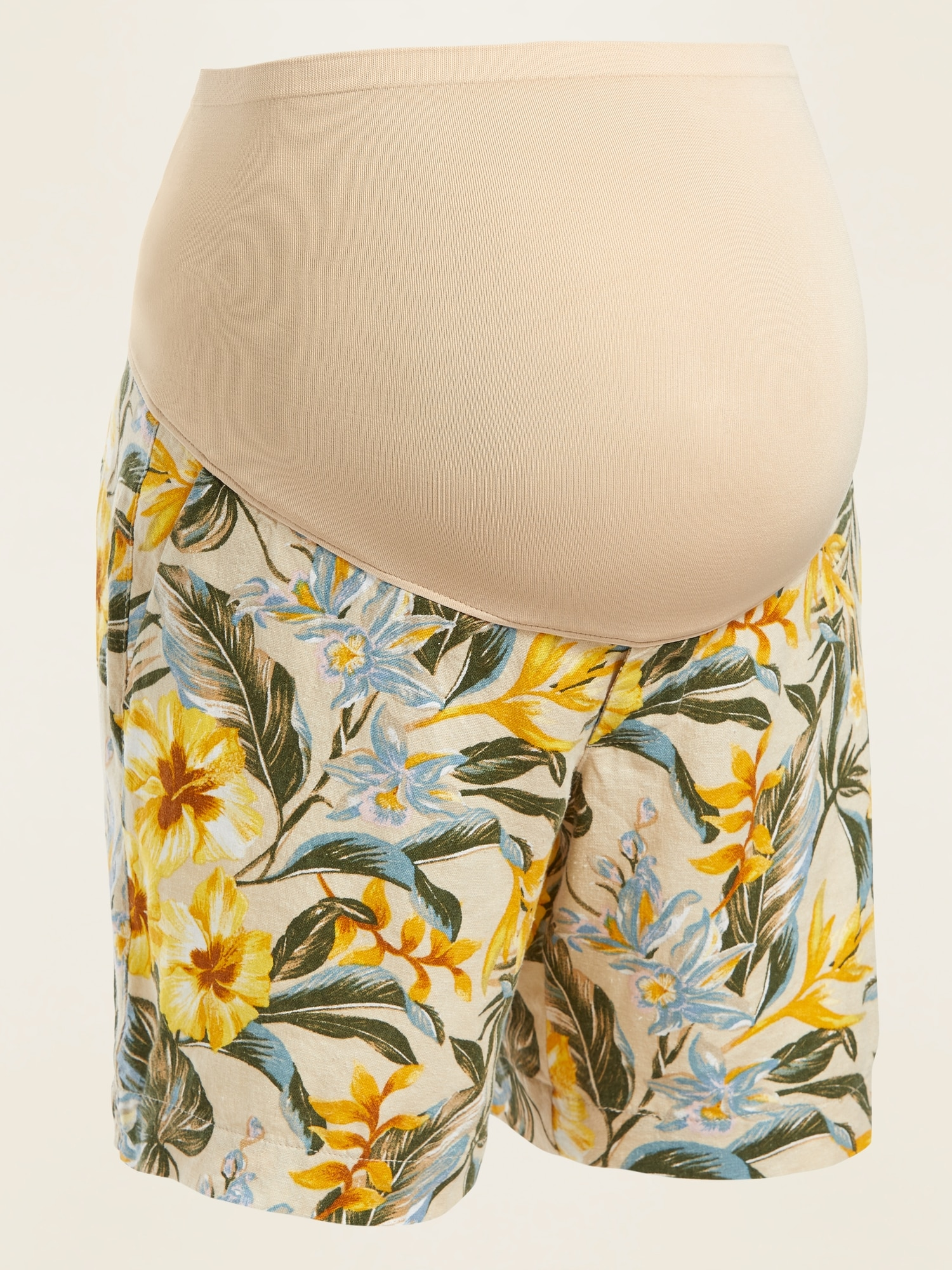 Old Navy Maternity Full-Panel Floral-Print Linen-Blend Shorts -- 7-inch inseam