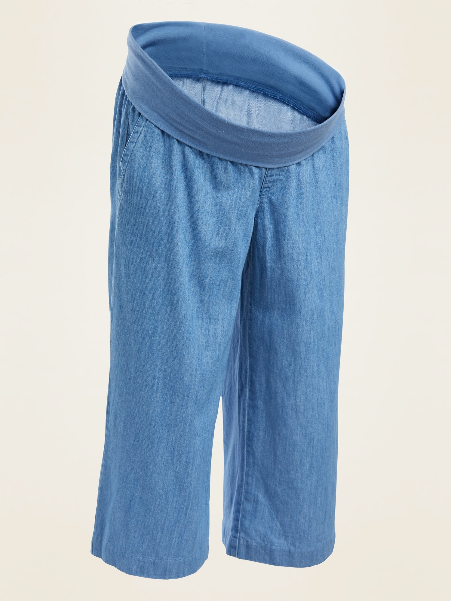 Old Navy Maternity Rollover-Waist Chambray Culotte Pants
