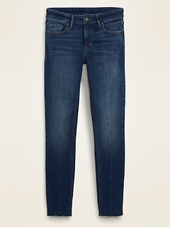 Mid-Rise Center-Seam Rockstar Super Skinny Cut-Off Ankle Jeans for Women