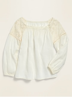 Square-Neck Cutwork Top for Girls