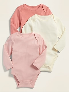 Unisex Long-Sleeve Bodysuit 3-Pack for Baby