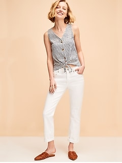 Mid-Rise Boyfriend Straight White Jeans for Women