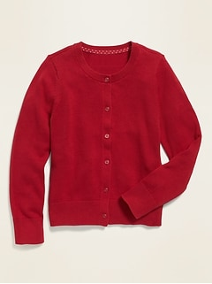 Button-Front Crew-Neck Cardigan for Girls
