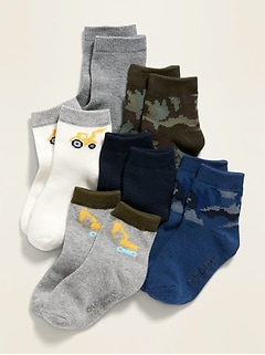 Unisex 6-Pack Printed Crew Socks for Toddler & Baby