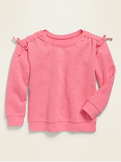 Tie-Shoulder Pullover Sweatshirt for Toddler Girls