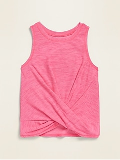 Go-Dry Sleeveless Twist-Hem Top for Toddler Girls