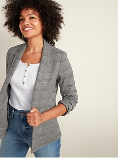 Classic Glen Plaid Blazer for Women