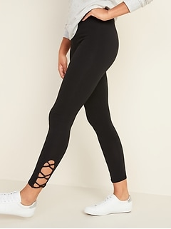 High-Waisted Jersey Lattice-Hem Leggings for Women