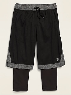 Go-Dry 2-in-1 Mesh Basketball Shorts for Boys