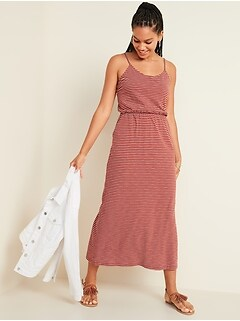 Waist-Defined Slub-Knit Cami Maxi Dress for Women