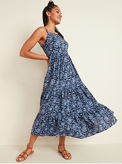 Floral-Print Tiered-Hem Cami Maxi Dress for Women