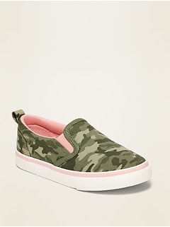 Camo-Print Canvas Slip-Ons for Toddler Girls
