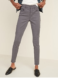 High-Waisted Gray Sateen Rockstar Super Skinny Jeans for Women