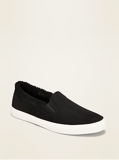 Faux-Suede Sherpa-Lined Slip-Ons for Women