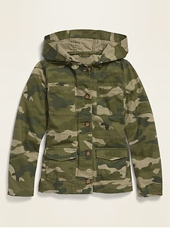 Camo-Print Hooded Utility Jacket for Girls