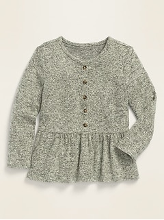 Long-Sleeve Peplum-Hem Plush-Knit Top for Toddler Girls
