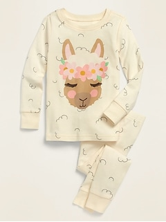 Llama-Graphic Pajama Set for Toddler Girls & Baby