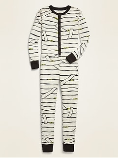 Graphic Henley One-Piece Pajamas for Boys