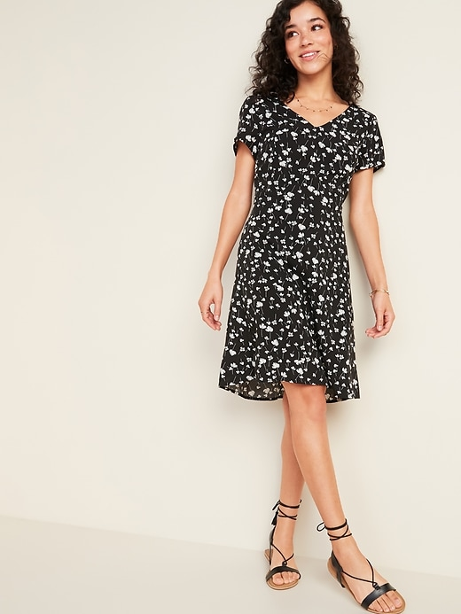 Fit & Flare V-Neck Dress for Women