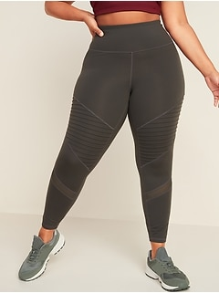 High-Waisted Elevate Moto Plus-Size 7/8-Length Leggings