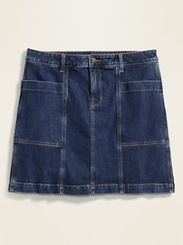 High-Waisted Secret-Slim Pockets Utility Plus-Size Jean Skirt