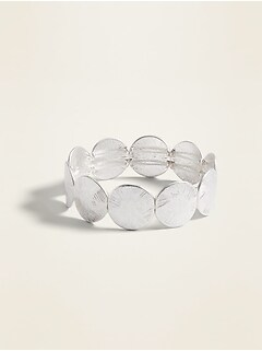 Silver-Toned Disk Stretch Bracelet for Women