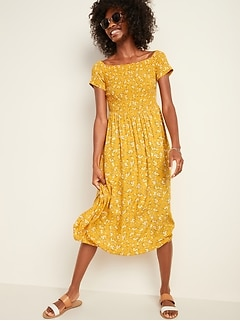 Smocked Off-the-Shoulder Fit & Flare Midi Dress for Women