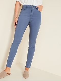High-Waisted Blue Sateen Rockstar Super Skinny Jeans for Women