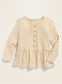 Long-Sleeve Peplum-Hem Top for Toddler Girls