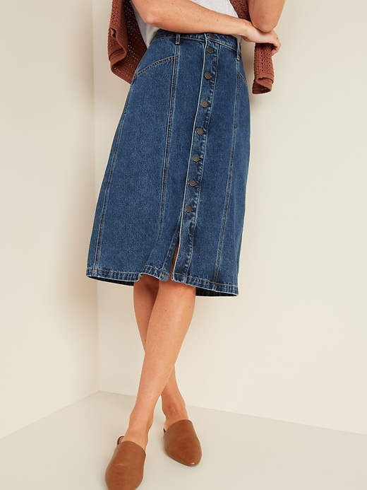 High-Waisted Button-Front Midi Jean Skirt for Women