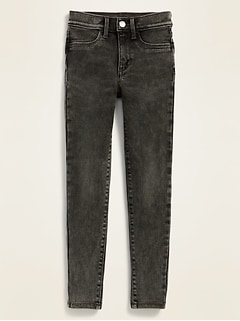 Ballerina Built-In Tough Black Acid-Wash Jeggings for Girls