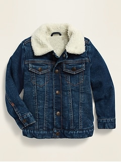 Unisex Sherpa-Lined Jean Trucker Jacket for Toddler