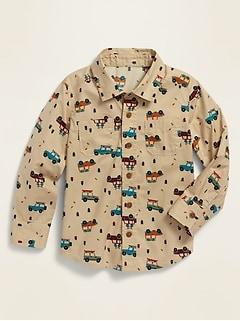 Printed Long-Sleeve Shirt for Toddler Boys