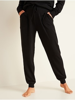 Mid-Rise Plush-Knit Jogger Pajamas for Women