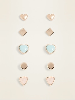Stud Earrings 5-Pack for Women