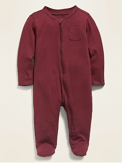 Unisex Solid Footie Pajama One-Piece for Baby