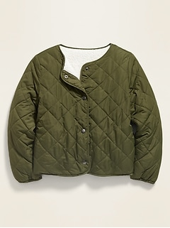 Reversible Quilted Sherpa-Lined Jacket for Girls