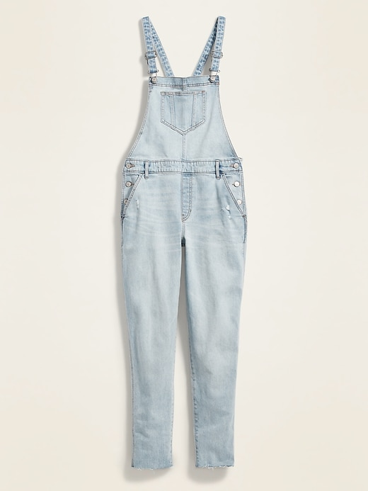 Straight Light-Wash Distressed Jean Overalls for Women