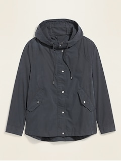 Hooded Poplin Utility Jacket for Women