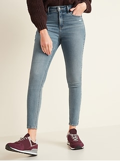 High-Waisted Light-Wash Rockstar Super Skinny Jeans