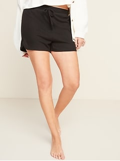 High-Waisted Plush-Knit Pajama Shorts for Women -- 3-inch inseam