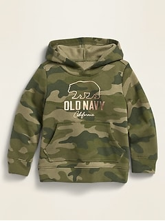Logo-Graphic Camo-Print Pullover Hoodie for Toddler Girls
